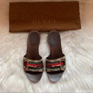 Auth. GUCCI GG Monogram Horsebit Slides Sandals